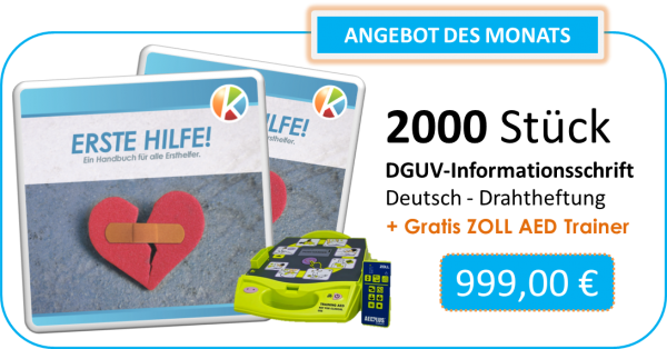2000 x Handout Erste-Hilfe + ZOLL AED-Trainer gratis