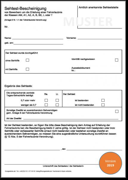 Sehtestbescheinigungen für den führerscheinbezogenen Sehtest 2019