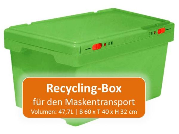 Stapelbox für Maskentransport