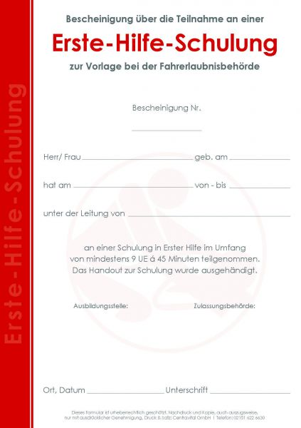 Lehrgangsbescheinigung Erste Hilfe Schulung (9 UE)